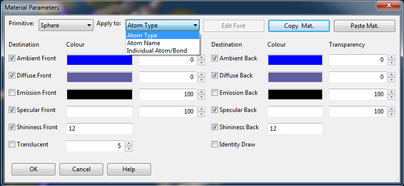 View of the atom material properties dialog.