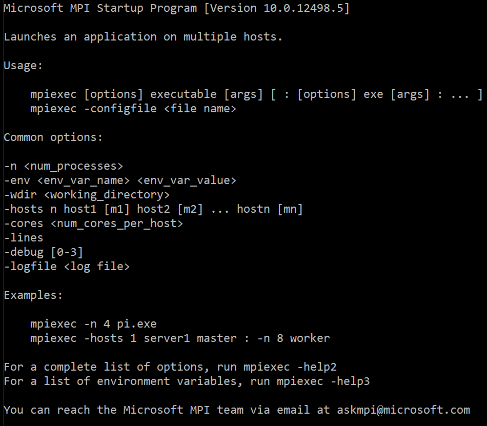 This is how the mpiexec output looks like on Windows