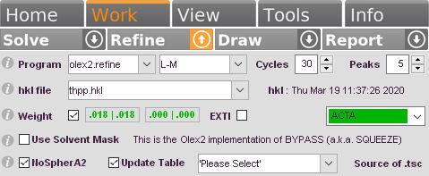 The GUI of <b>NoSpherA2</b> appears when <b>olex2.refine</b> is selected